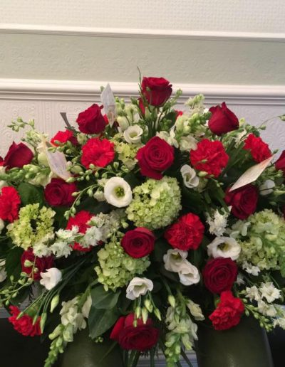 Red Rose & Carnation Casket Spray