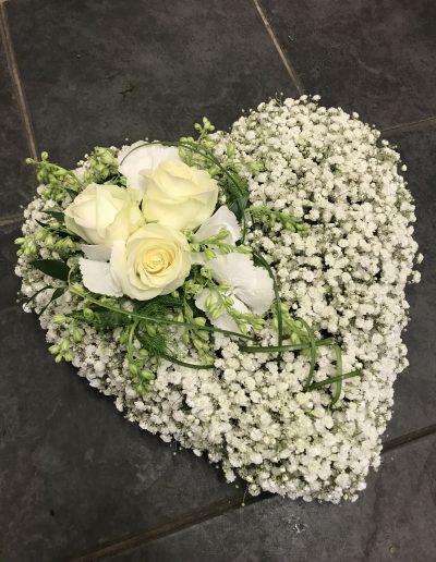 White Rose & Gypsophila Small Heart