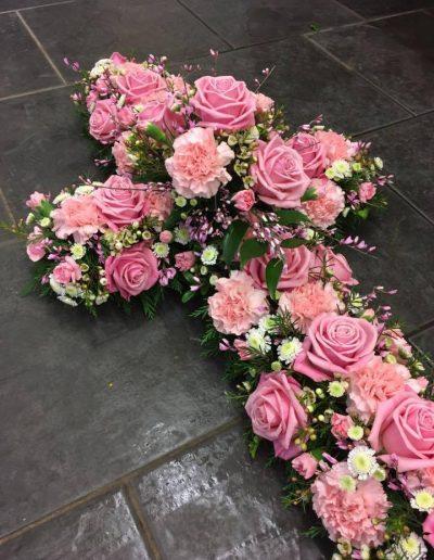 Pink Rose Open Cross
